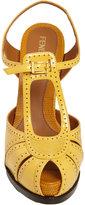Fendi Colorblock Perforated Platform Sandal