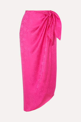 Art Dealer - Carrie Silk-jacquard Wrap Midi Skirt - Fuchsia