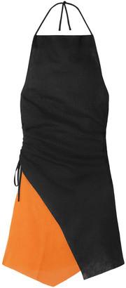Marques Almeida Asymmetric Two-tone Linen Halterneck Mini Dress