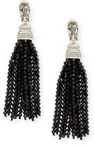 Oscar de la Renta Long Beaded Crystal Tassel Clip Earrings, Black