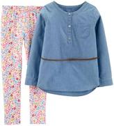 Carter's Girls 4-12 Chambray Tunic & Floral Legging Set