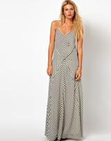 Asos Maxi Dress In Cut About Stripe