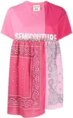 Semi-Couture paisley print embellished T-shirt