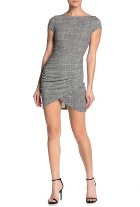 Love...Ady Plaid Cap Sleeve Wrap Hem Mini Dress