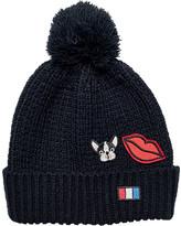 San Diego Hat Company Women's Knit Beanie with Patches/Pom Pom KNH3470