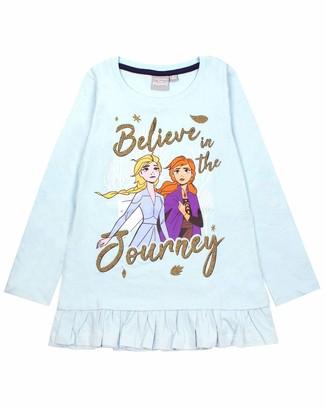 Disney Vanilla Underground Frozen 2 Elsa and Anna Believe Long Sleeve Girl's Frill T-Shirt Blue