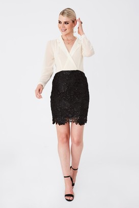 Paper Dolls Juniper Monochrome Shirt And Lace Mini Dress