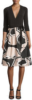 Diane von Furstenberg New Jewel Wrap Dress w/Mikado Skirt, Black/Pommeau Grande