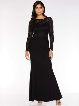 Quiz Sequin Lace Scallop Insert Long Sleeve Maxi Dress