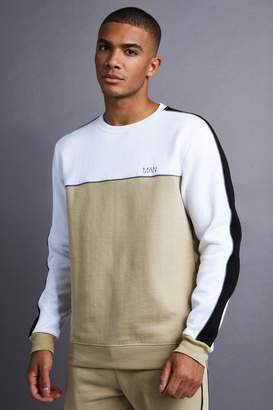BEIGE BoohoomanBoohooMAN Mens MAN jumper With Panel And Piping,