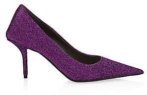 Balenciaga Women's Square Knife Point-Toe Stiletto Glitter Pumps