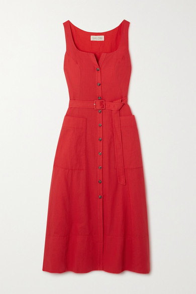 Thumbnail for your product : Saloni Bibba Belted Cotton And Linen-blend Midi Dress - Red
