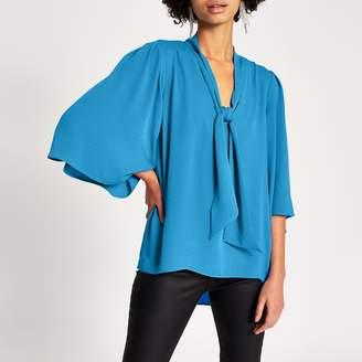 River Island Womens Blue tie V neck choker blouse