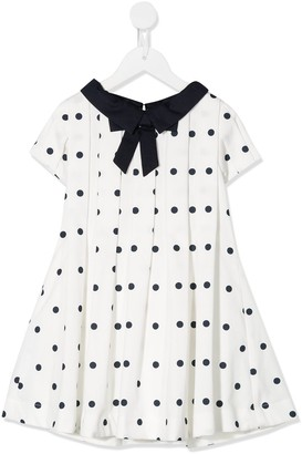 Lapin House Point-Collar Polka-Dot Print Dress