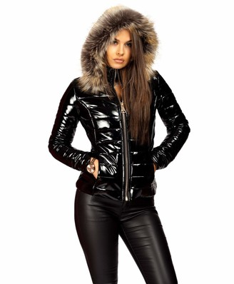 Lexi Fashion Ladies Womens Wet Look Vinyl PVC PU Faux Leather Shiny Puffer Bubble Quilted Padded Faux Fur Collar Hooded Winter Warm Thick Parka Jacket Coat Size 12 Black