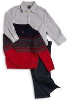 Nautica Boys 2-7 Colorblocked Sweater, Plaid Sportshirt and Jeans Set
