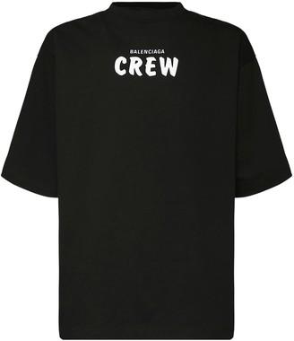 Balenciaga Over Crew Logo Print Cotton T-Shirt