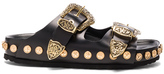 Fausto Puglisi Studded Leather Sandals in Black.