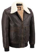 Black Rivet Mens Vintage Leather Aviator