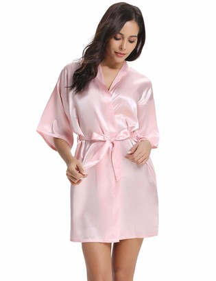 Vlazom Women Kimono Robes Satin Dressing Gown Short Bridal/Bridesmaid Robe Nightwear with Oblique V-Neck
