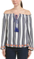 J.o.a. Embroidered Linen-Blend Top