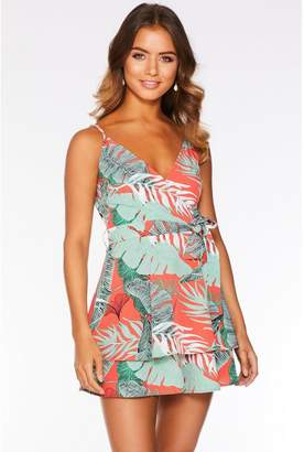 Quiz Green and Coral Tropical Print Playsuit