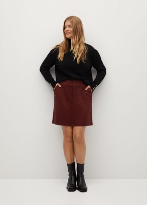MANGO Violeta BY Check miniskirt red - S - Plus sizes