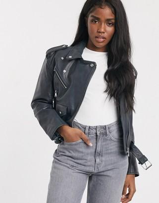 Asos Design DESIGN washed leather biker jacket in black