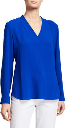 Eileen Fisher Petite V-Neck Long-Sleeve Silk Crepe Top