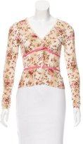 Blumarine Ruffle-Accented Floral Print Cardigan