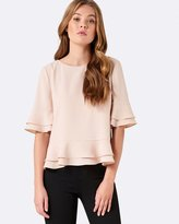 Forever New Maggie Double Frill Sleeve Top
