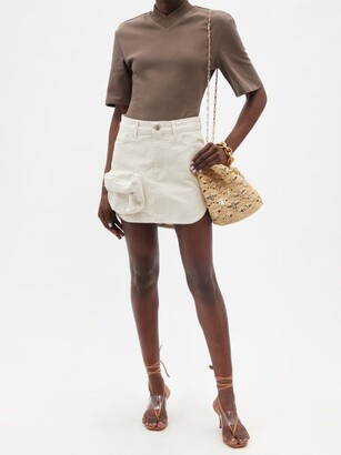 ATTICO Zip-pocket Cotton-canvas Mini Skirt - Ivory