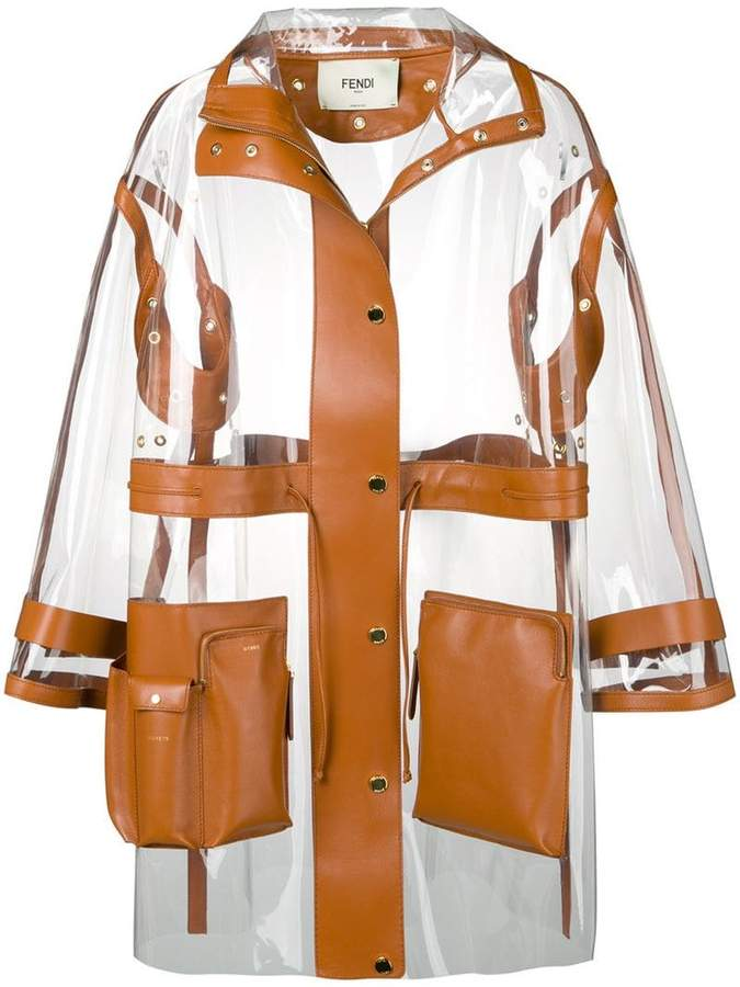 leather trim see-through raincoat