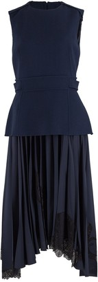 Oscar de la Renta Navy Fitted Top and Silk Lace Insert Skirt Dress