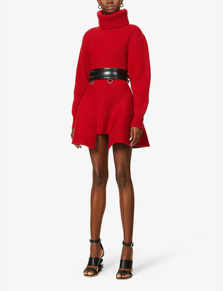 Alexander McQueen Turtleneck wool and cashmere-blend mini dress