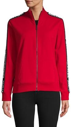 Karl Lagerfeld Paris Logo Tape Full-Zip Stretch-Cotton Sweater