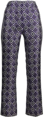 Prada Pre Owned Geometric Print Slim-Fit Trousers