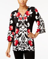JM Collection Petite Printed Lace-Up Top, Only at Macy's
