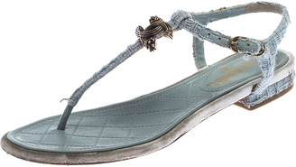 Chanel Light Blue Tweed Fabric CC Thong Sandals Size 37.5