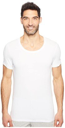 Hanro Cotton Superior Short Sleeve Crew Neck Shirt (White) Men's T Shirt