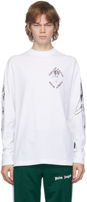 Palm Angels White Small Exotic Club Long Sleeve T-Shirt