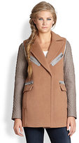 Rebecca Taylor Convertible Stretch-Wool & Leather Jacket