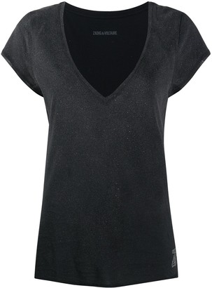 Zadig & Voltaire deep V-neck glitter T-shirt