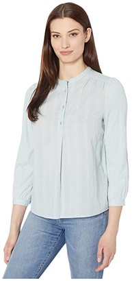 Lucky Brand Long Sleeve Button-Up Woven Mix Top (Sterling Blue) Women's Clothing