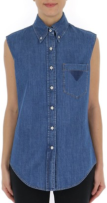 Prada Sleeveless Denim Shirt