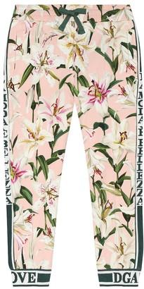 Dolce & Gabbana Kids Floral stretch-cotton trackpants