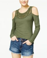 Jessica Simpson Lace-Trim Cold-Shoulder Top