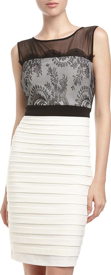Jax Lace-Top Sheath Dress, Black/Ivory