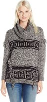 Kensie Women's Fuzzy Mixed Media Sweater Aztec
