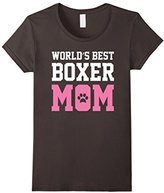Women's World's Best Boxer Mom Dog Owner Lover Paw Pet Pink Tee Small